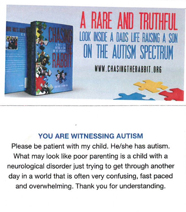 CTR card (front & back) - You are Witnessing Autism