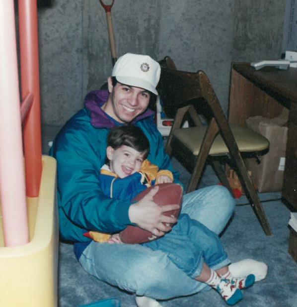 Derek & Dad playing in basement - 1993