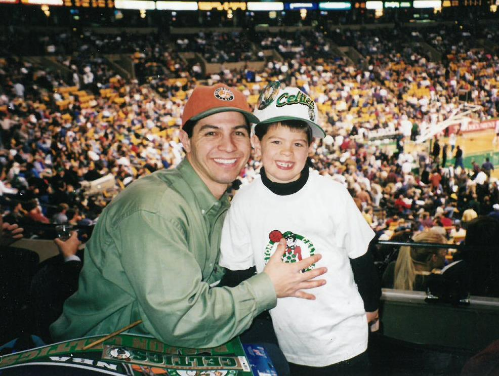 Derek & Dylan at Celtics game - 1997