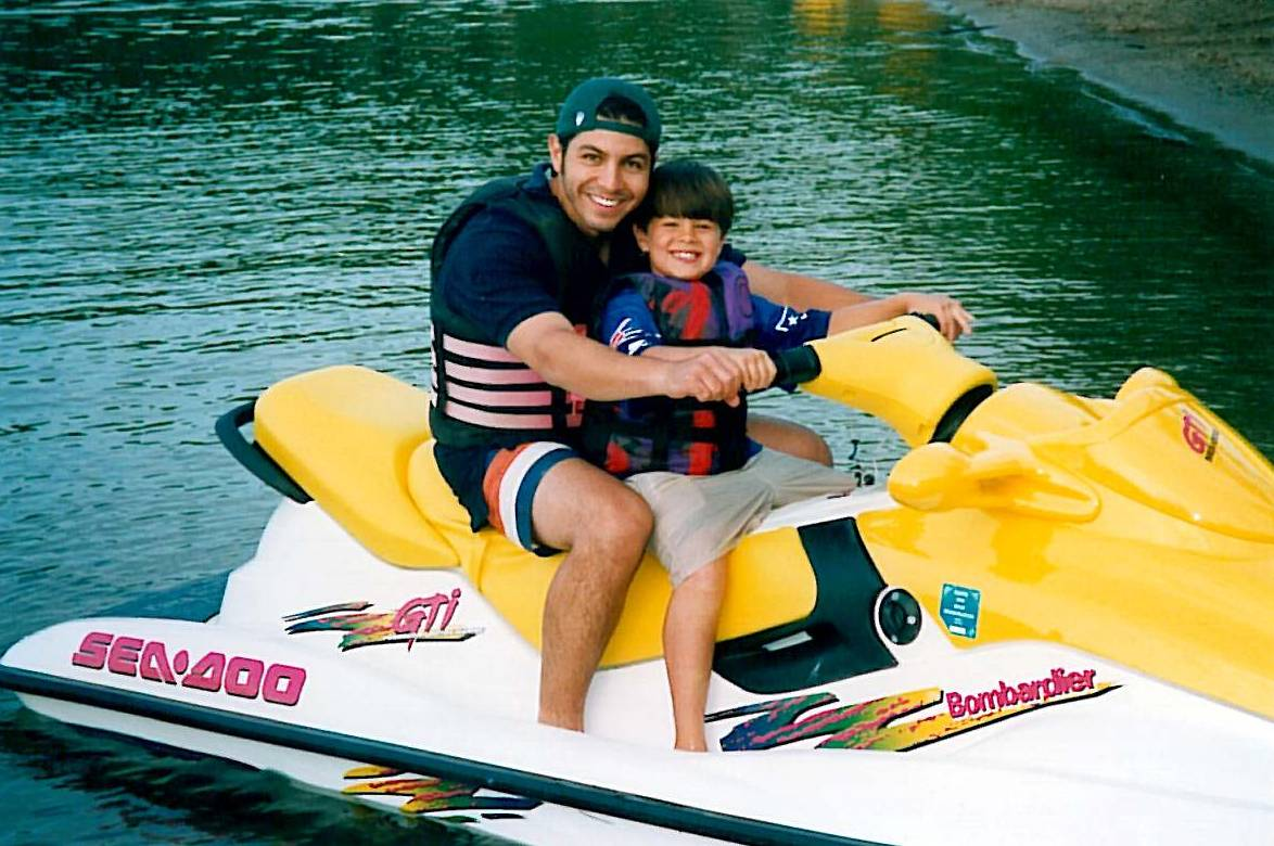 Derek & Dylan on waverunner - 1999