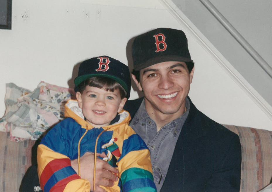 Dylan & Derek in Red Sox hats - 1993
