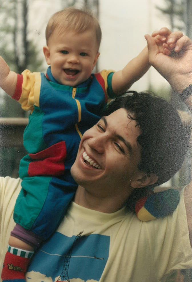 Dylan on Derek's shoulders - 1992